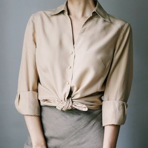 Vintage 100% Silk Pearl Button Blouse Camel